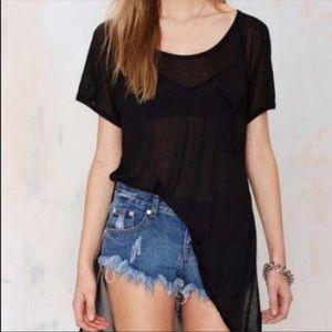 Nasty Gal Black Short Sleeve Slit Tee T-Shirt Top
